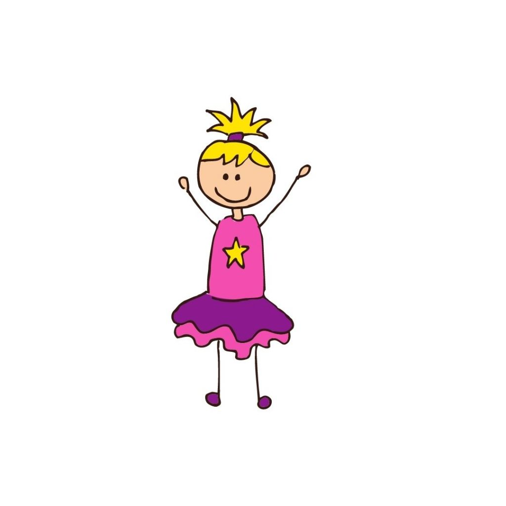 Zeichnung eines Freude strahlenden Mädchens
